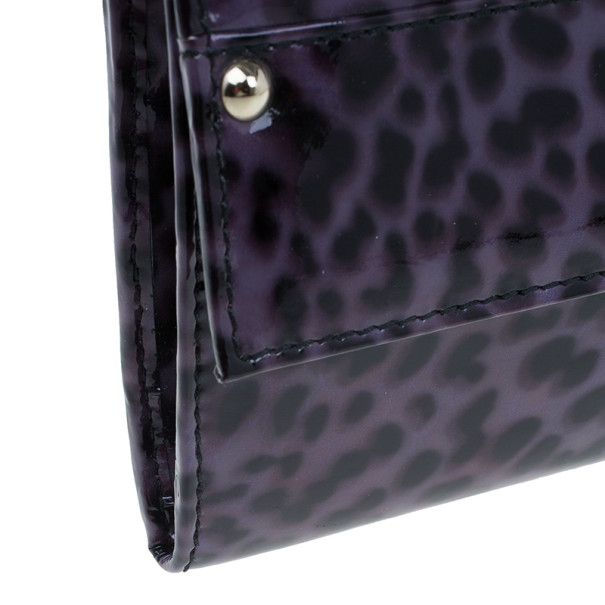Jimmy Choo Purple Leopard Print Patent Animal Uma Clutch