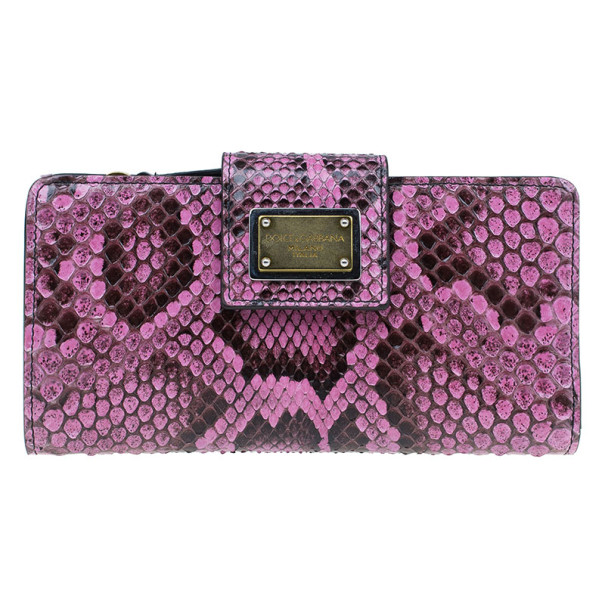 Dolce and Gabbana Pink Python Continental Wallet