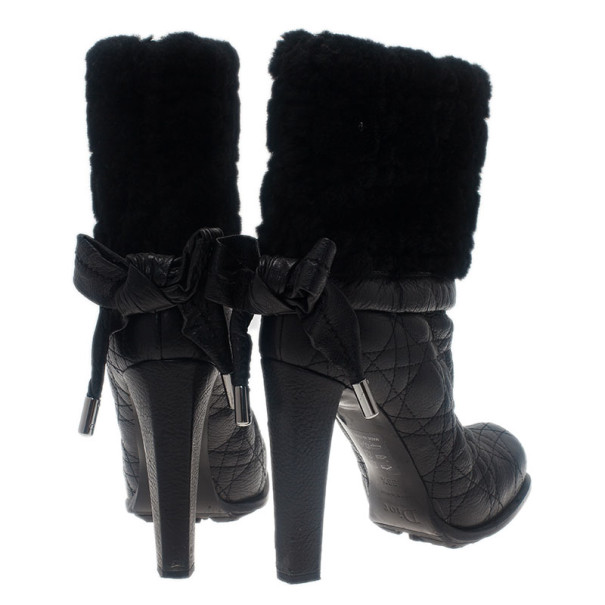 Dior Black Leather Cannage Ice Fur Cuffed Boots Size 38.5