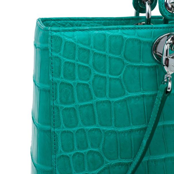 Dior Green Crocodile Medium Lady Dior Tote