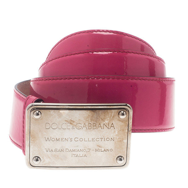 Dolce and Gabbana Pink Patent Logo Plaque Belt 90CM
