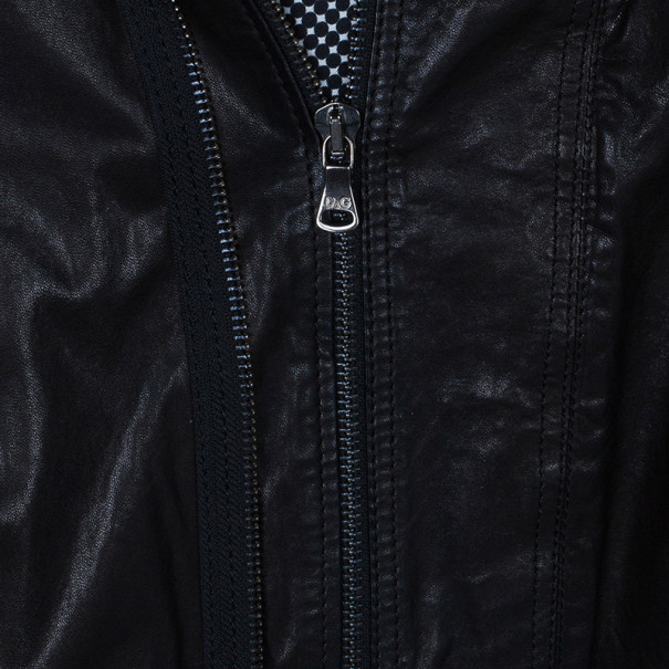 Dolce and Gabbana Black Classic Leather Jacket L