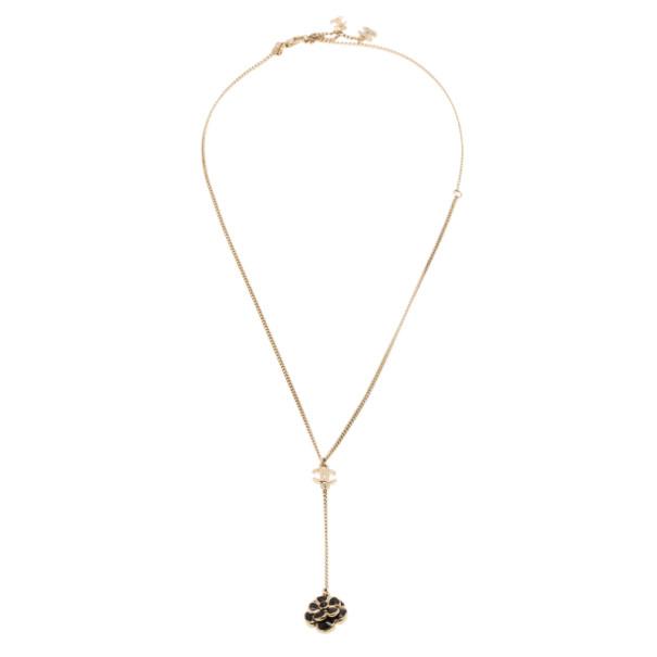 Chanel Black Camellia Pendant Necklace