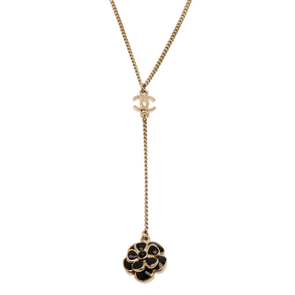 Chanel Black Camellia Pendant Necklace