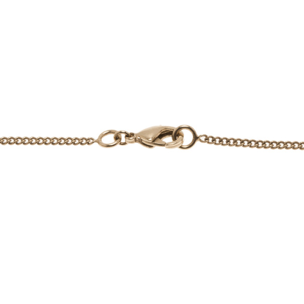 Chanel Bow CC Logo Crystal Gold Charm Necklace