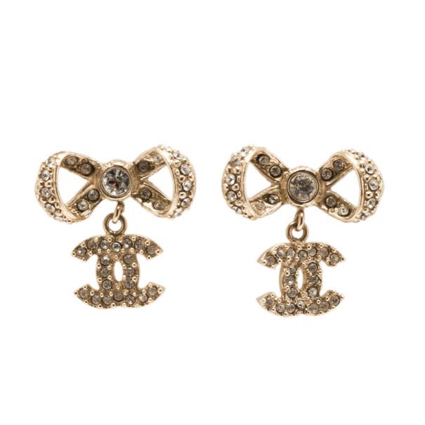 Chanel Bow CC Logo Crystal Gold Charm Earrings