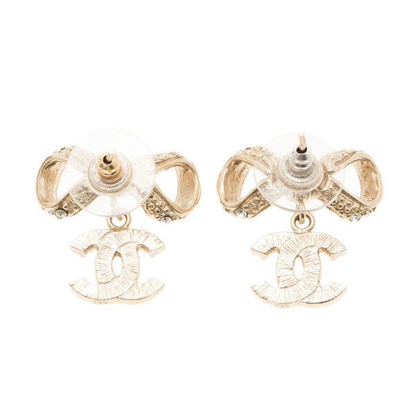 Chanel Bow CC Logo Crystal Gold Charm Earrings