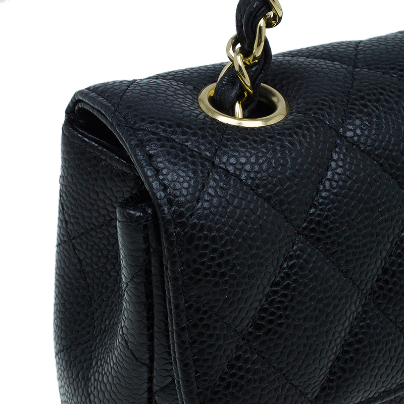 Chanel Black Caviar Leather East West Flap Bag