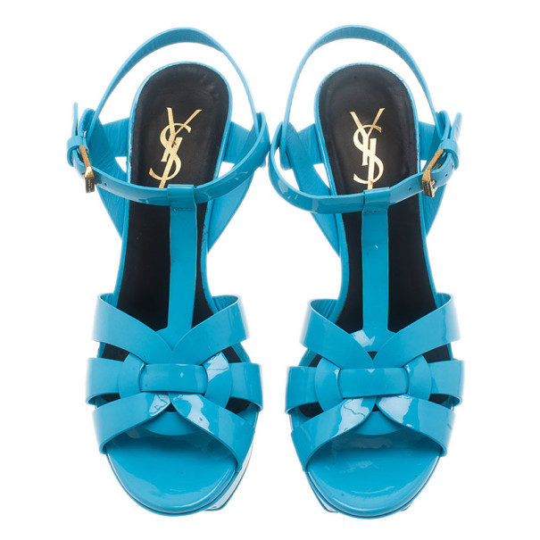 Saint Laurent Paris Blue Patent Leather Tribute Platform Sandals Size 37