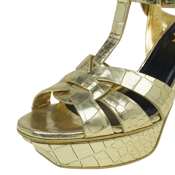 Saint Laurent Paris Gold Croc Embossed Leather Tribute Platform Sandals Size 37