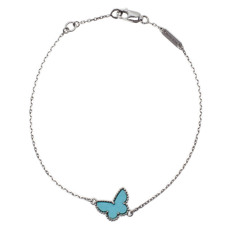 Van Cleef & Arpels Sweet Alhambra Butterfly Turquoise White Gold Bracelet