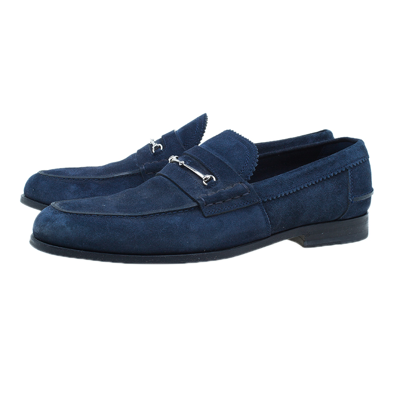 Gucci Blue Suede Loafers Size 42.5