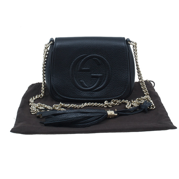 Gucci Black Leather Soho Chain Shoulder Bag