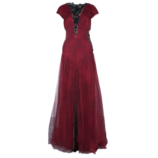 Tadashi Shoji Pleated Lace Red Black Gown XL - Buy & Sell - LC