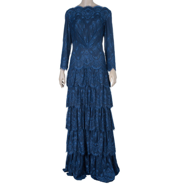 Tadashi Shoji Navy Lace Long Sleeve Gown XL