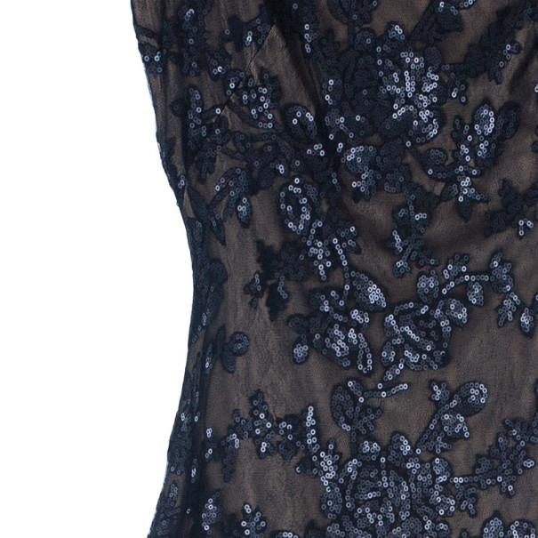 Tadashi Shoji Black Lace Fitted Gown L
