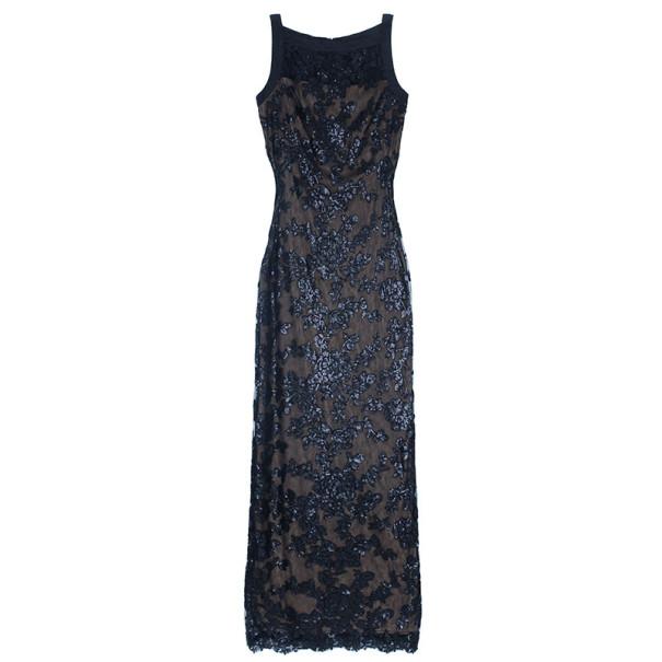 Tadashi Shoji Black Lace Fitted Gown L