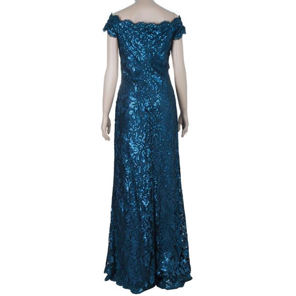 Tadashi Shoji Teal Sequin Gown M