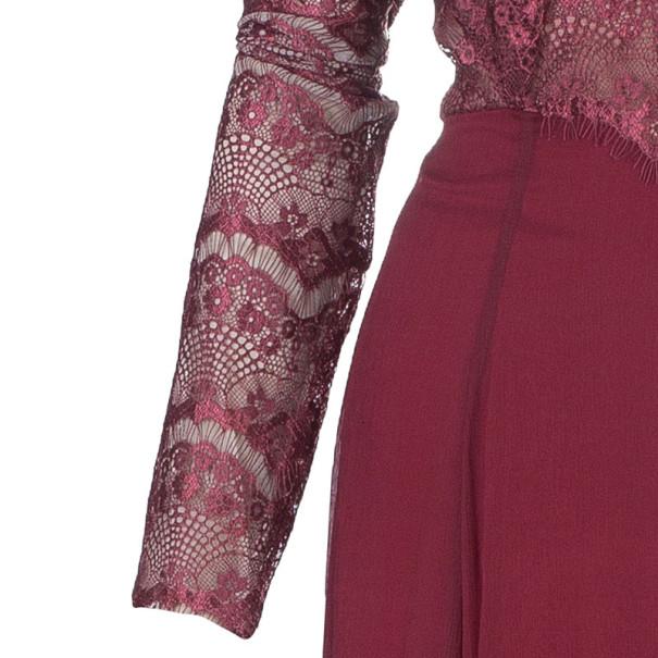 Tadashi Shoji Red Lace Sequin Dress L