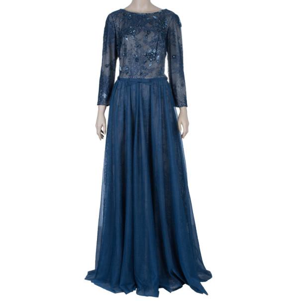 Tadashi Shoji Embellished Long Sleeve Lace Gown M