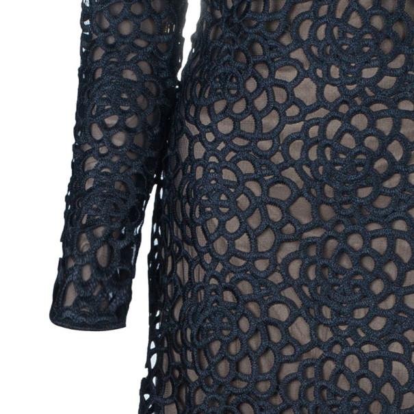 Tadashi Shoji Black Macrame Lace Gown M
