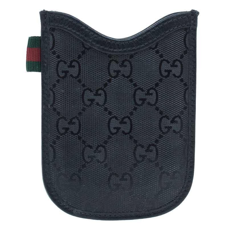 Gucci Black Guccissima Canvas and Leather Blackberry Case
