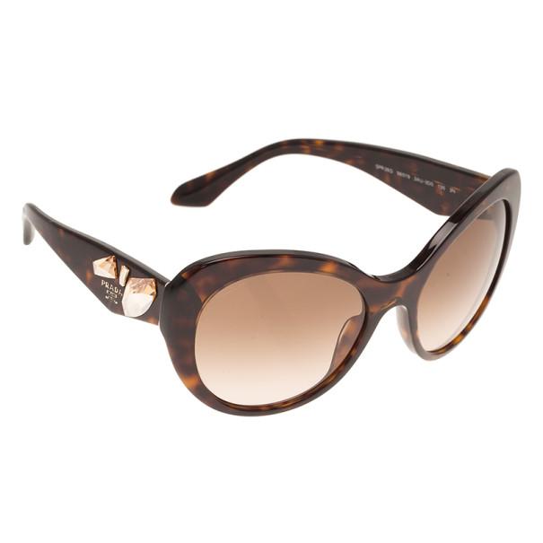 Prada Tortoise Frame Embellished Voice Cat Eye Sunglasses