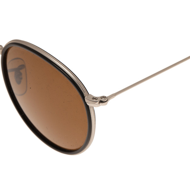 Ray-Ban RB3517 Black & Silver Round Folding Polarised Sunglasses
