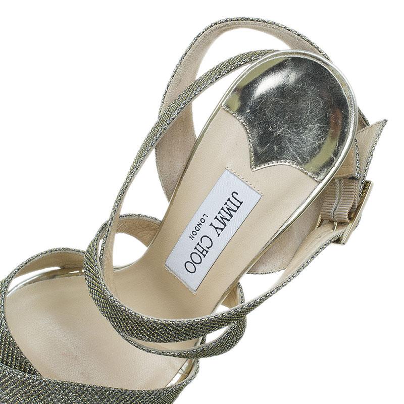 Jimmy Choo Gold Glitter Vamp Platform Sandals Size 40