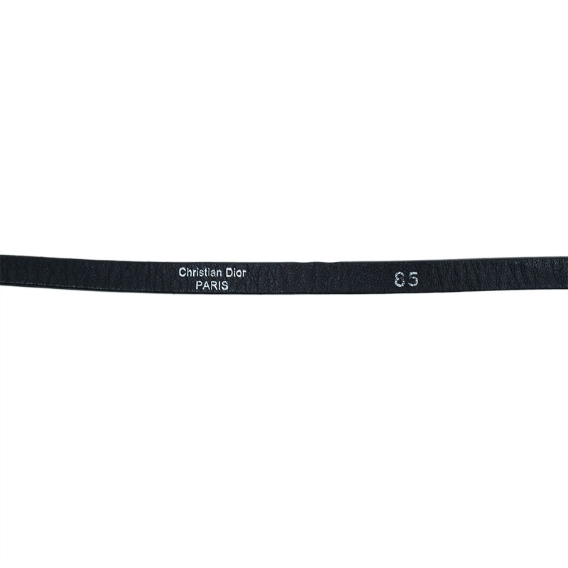 Dior Black Patent Leather Skinny Belt 85 CM