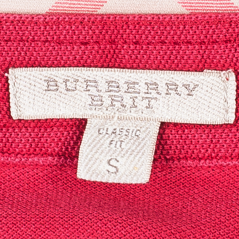 Burberry Men's Red Cotton Polo Shirt S