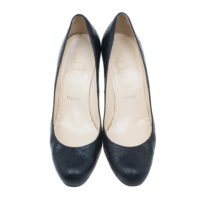 Christian Louboutin Black Crackled Leather Fifi Pumps Size 37
