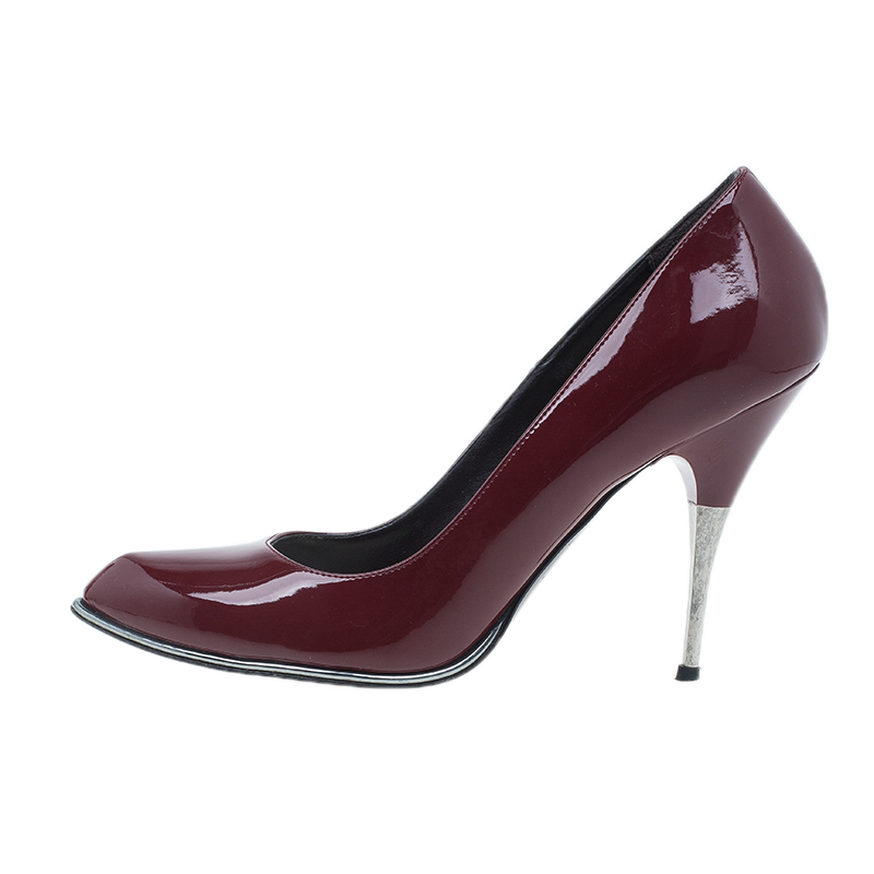 Stella McCartney Burgundy Patent Pointed Toe Pumps Size 37