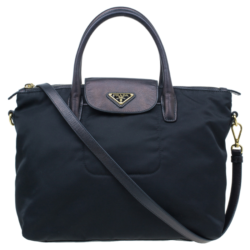 Prada Black Tessuto Nylon And Saffiano Leather Tote Bag
