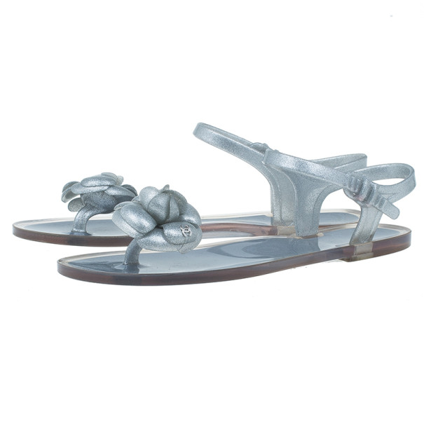 Chanel Silver Camellia Jelly Sandals Size 38