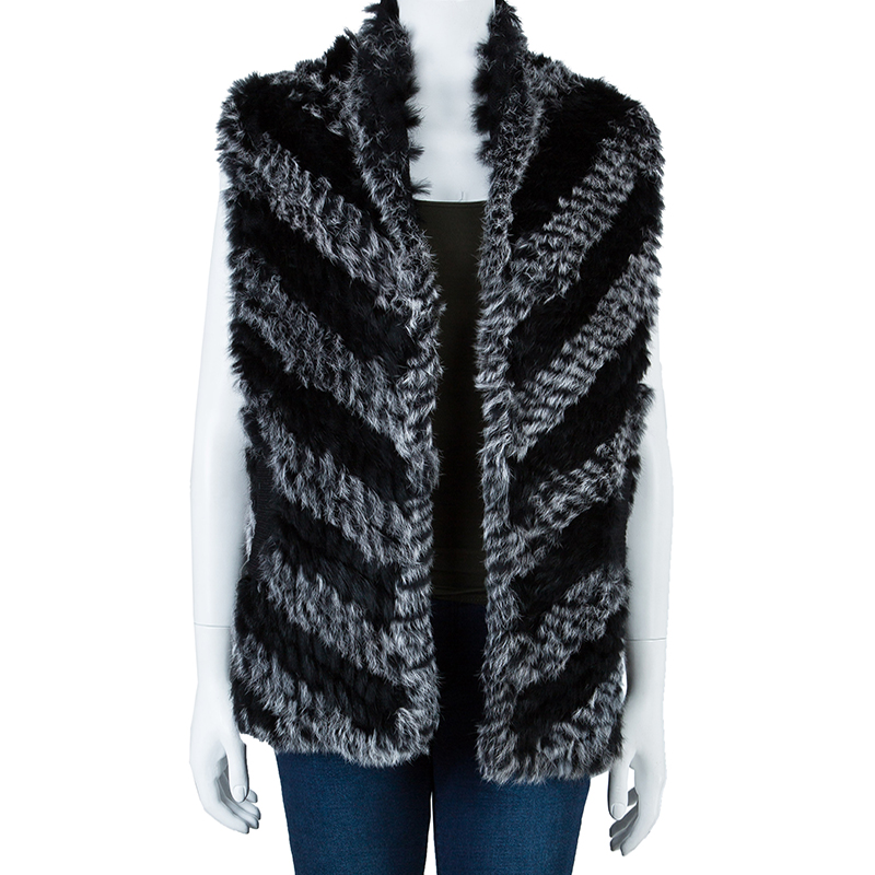 Marc by Marc Jacobs Black Leelee Fur Vest S