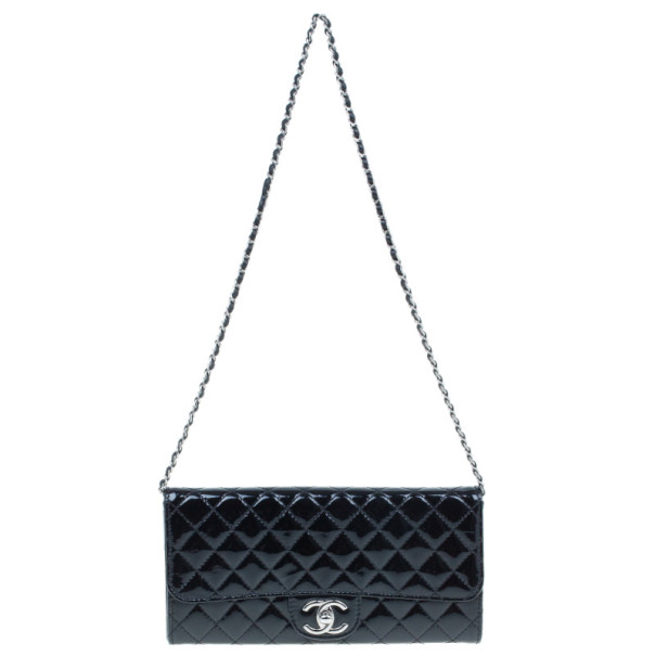 Chanel Black Patent Leather Small Evening Clutch