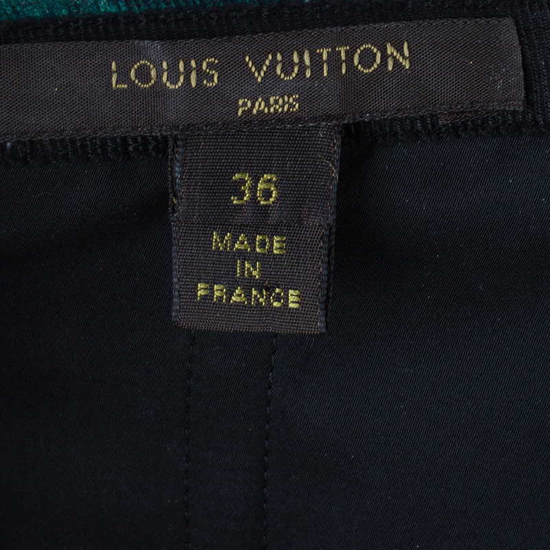 Louis Vuitton Green Burnout Detail Cocktail Dress S
