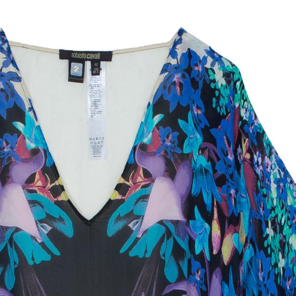 Roberto Cavalli Floral Silk Kaftan Top M