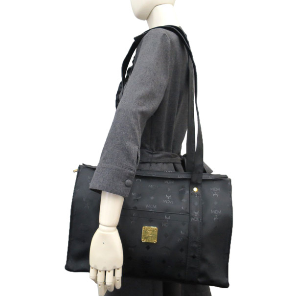 MCM Black Visetos Leather Shoulder Bag