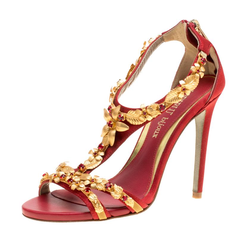 Купить со скидкой Loriblu Bijoux Red Satin Floral Embellished Crystal Studded Sandals Size 36
