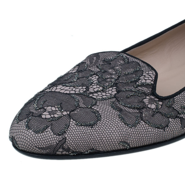 Valentino Black Lace Flat Loafers Size 41