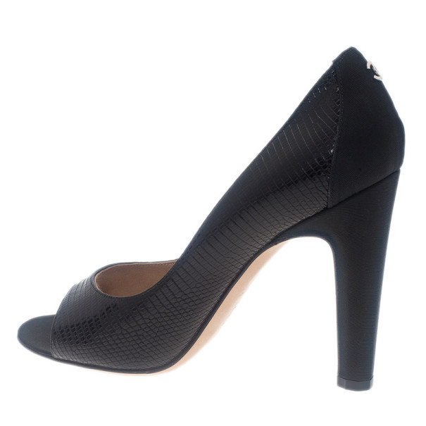 Chanel Black Lizard Embossed Open Toe Pumps Size 38