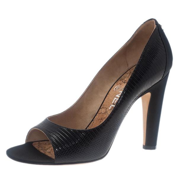 Chanel Black Lizard Embossed Open Toe Pumps Size 38
