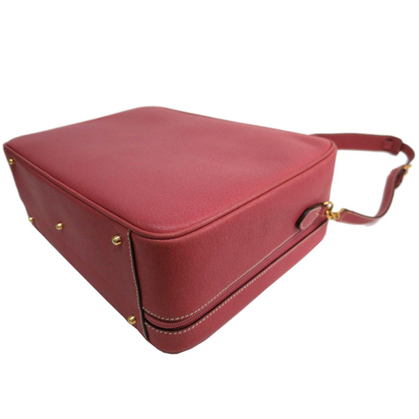 Gucci Pink Leather Bamboo Suitcase