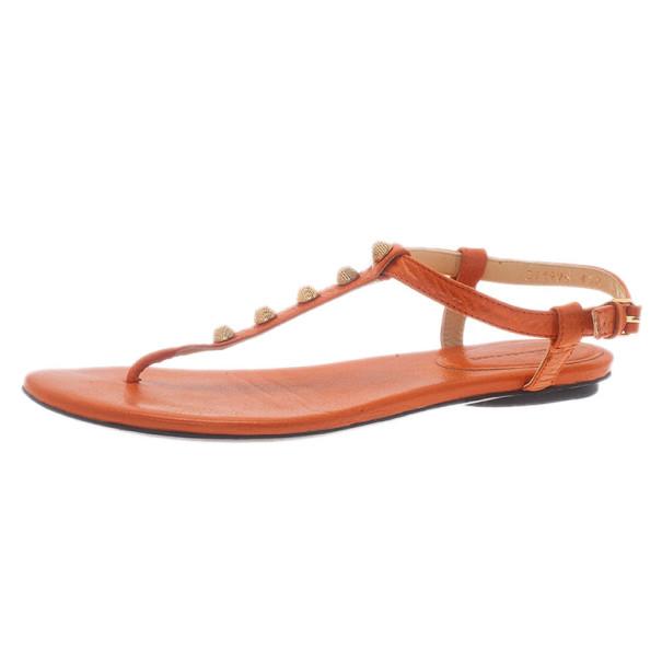 Balenciaga Orange Leather Studded Thong Sandals Size 38.5