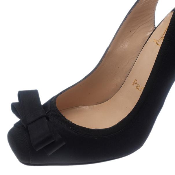 Christian Louboutin Black Satin Nooka Slingback Sandals Size 37.5