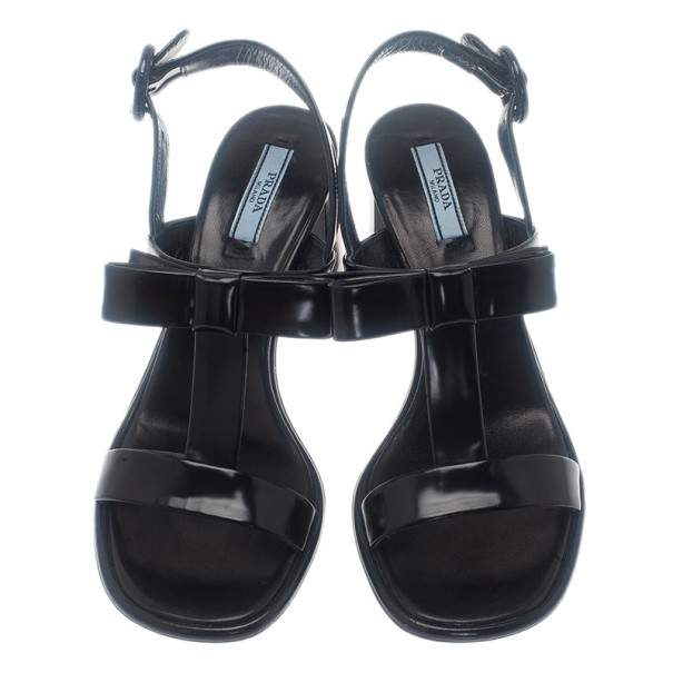 Prada Black Leather Bow T-Strap Sandals Size 36
