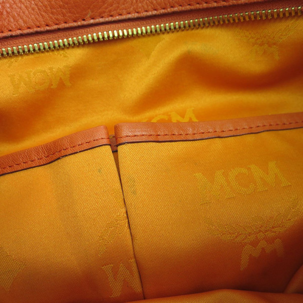 MCM Orange Leather Visetos Tote