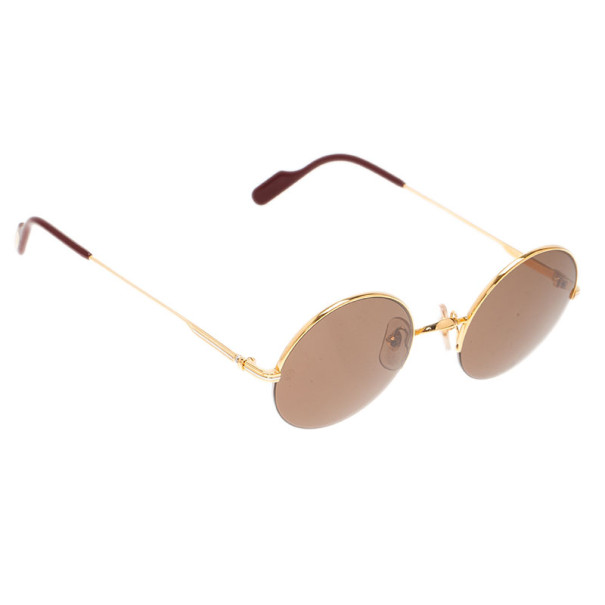 Cartier Gold Half Rimmed Round Mayfair Sunglasses